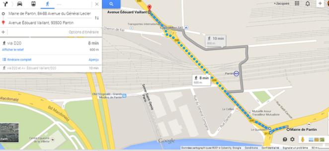 parcours  route  d'Aubervilliers -actuellement Av Edouard Vaillant- Mairie de Pantin