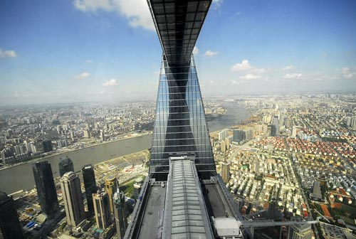 A view shows downtown Shanghai and the Huangpu River from the Shanghai World Financial Center