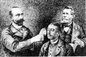 Docteur Tissé hypnotisant Albert Dadas fou voyageur bordelais-en rrière plan Docteur Azam
